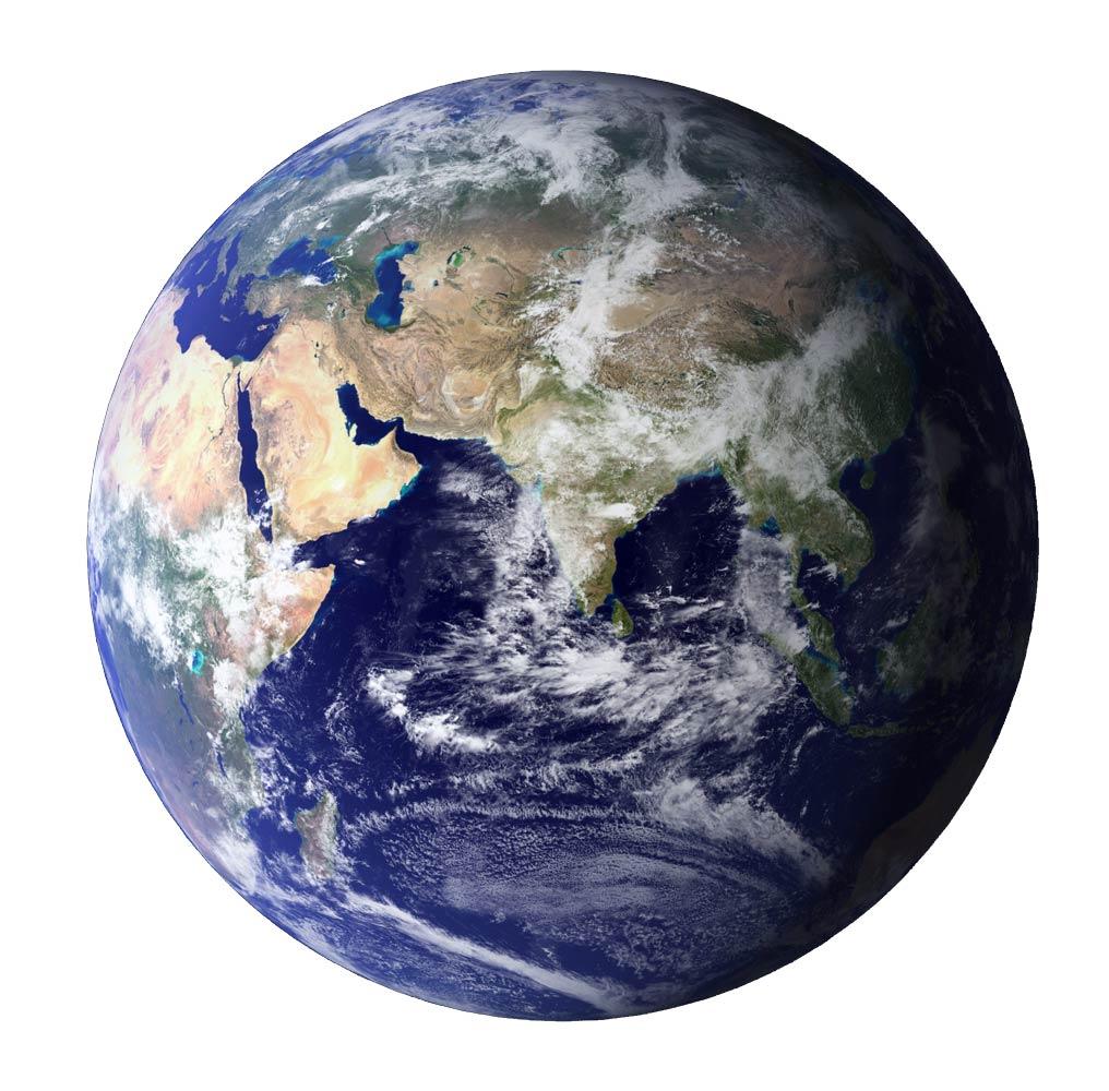 Unsere blaue Erde mit den Kontinenten Asien, Afrika, Europa, Australien