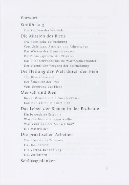 Inhaltsverzeichnis: DER BIEN - DAS ETWAS ANDERE BIENENBUCH, Autor: Ralf Rößner