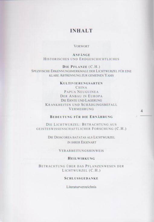 """Inhaltsverzeichnis - """"Die Lichtwurzel - Ernährung der Zukunft"""""""