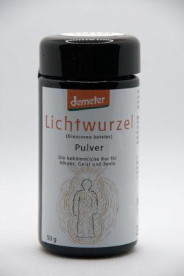 demeter Lichtwurzel Pulver handvermahlen Vorderansicht- in Zusammenarbeit mit der Andreashof Jeridin GmbH